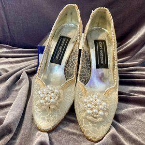 Stuart Weitzman Lace & Pearl Heels